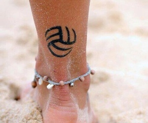 volleyball, tattoo, and beach image