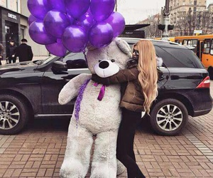 girl, bear, and purple image