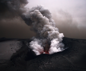 nature, volcano, and smoke image