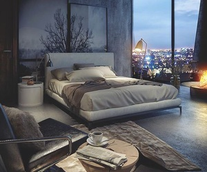 bedroom in g and grey & big windows image