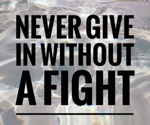 quote, fight, and never give in image