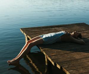 girl, lake, and relax image