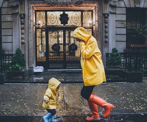 rain, baby, and family image