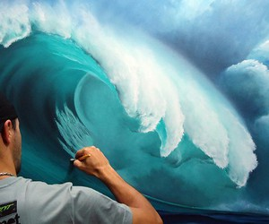waves, ocean, and painting image