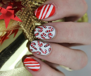 candy cane, girl, and nail art image