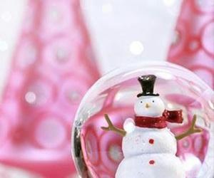 christmas, snow, and pink image