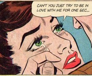comic, vintage, and sad image