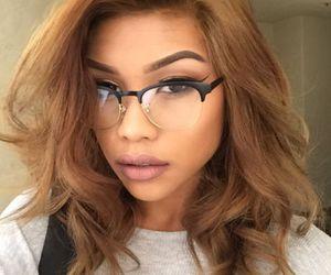 makeup, glasses, and hair image