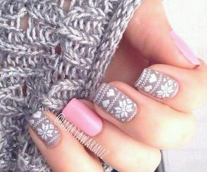 nails, pink, and winter image