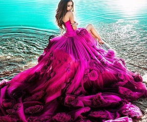 dress, pink, and woman image