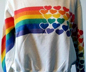 hearts, rainbow, and sweater image