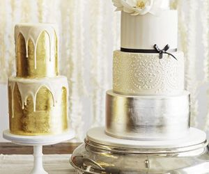 cake, golden, and silver image