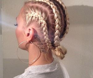 braid, hair, and tattoo image