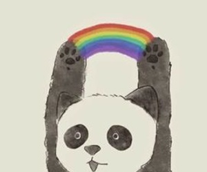 panda, wallpaper, and rainbow image