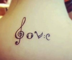 love, music, and tattoo image