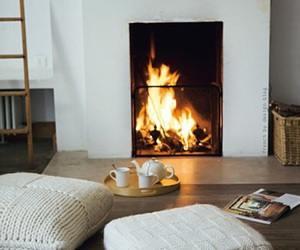 fire, home, and fireplace image