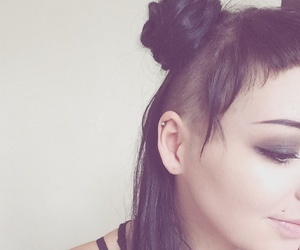 black hair, hair bun, and grunge image