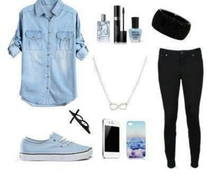 outfit, blue, and iphone image