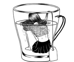 art, black and white, and cup image
