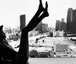 girl, city, and black and white image