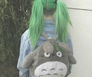 hair, green, and totoro image