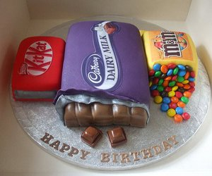 cake, chocolate, and kitkat image