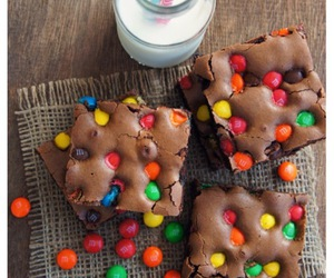 brownie, food, and milk image