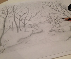 draw, landscape, and winter image