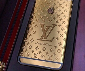 gold, iphone, and Louis Vuitton image