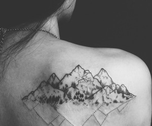 tattoo, mountains, and black and white image