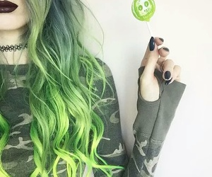 green, hair, and alternative image