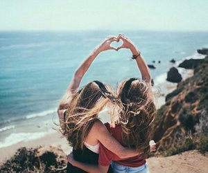 best friends, beach, and heart image