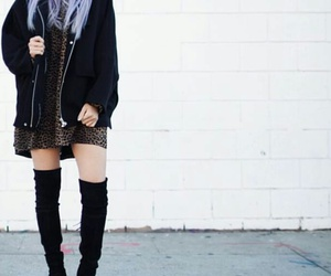 black jacket, black knee high boots, and straight lavender hair image
