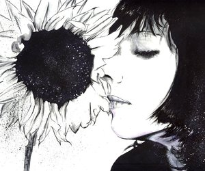girl, drawing, and sunflower image