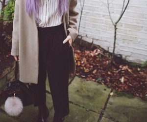 black pants, black purse, and straight lavender hair image