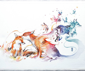 fox, art, and draw image