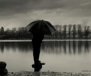 lake, rain, and umbrella image