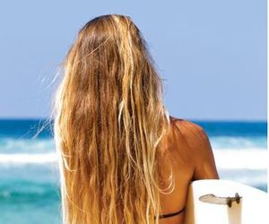 beach, waves, and girl image