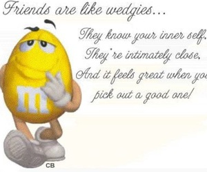 m&ms, friends, and wedgies image