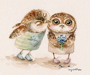 owl, kiss, and cute image