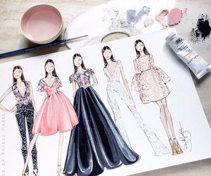 drawing, art, and dress image
