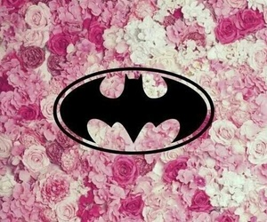 batman, pink, and flowers image