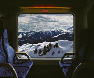snow, train, and mountains image