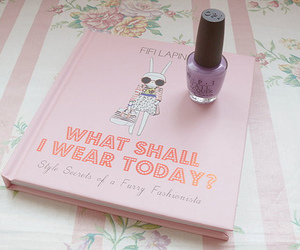 book, pink, and nail polish image