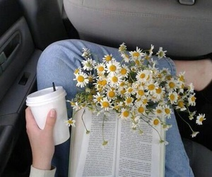 flowers, book, and coffee image