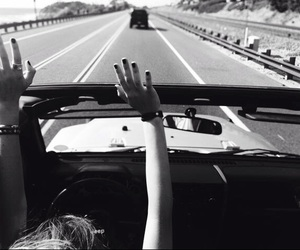 car, black and white, and travel image