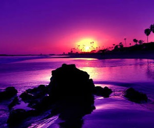 sunset, purple, and beach image