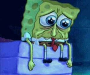 sad, spongebob, and gary image