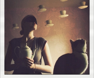 cat, cup, and girl image