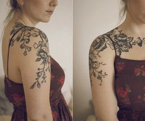 flowers, lovely, and tattoo image